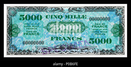 . English: Allied Military Currency-5000 Francs (1944) From the first of two issues of Allied Military Currency, the First Issue Supplemental French Franc was printed in eight denominations. The 2, 5 and 10 Franc notes are square while the 50, 100, 500, 1,000, and 5,000 Franc notes are rectangular. The reverse design is similar for the entire issue. The present example is a specimen note (SN 00000000).  . 17 December 2013, 13:25:58. Printed by the Forbes Lithograph Manufacturing Co., Boston, US.   National Museum of American History    Native name National Museum of American History  Parent  - Stock Photo
