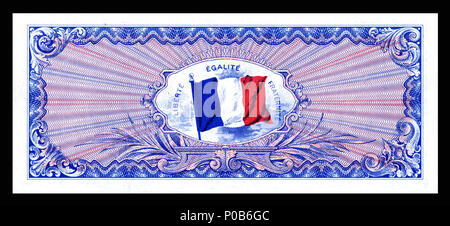 . English: Allied Military Currency- Reverse for 50, 100, 500, 1000, 5000 Franc notes (1944) From the first of two issues of Allied Military Currency, the First Issue Supplemental French Franc was printed in eight denominations. The 2, 5 and 10 Franc notes are square while the 50, 100, 500, 1,000, and 5,000 France notes are rectangular. The reverse design is similar for the entire issue.  . 17 December 2013, 13:32:06. Printed by the Forbes Lithograph Manufacturing Co., Boston, US.   National Museum of American History    Native name National Museum of American History  Parent institution Smi - Stock Photo