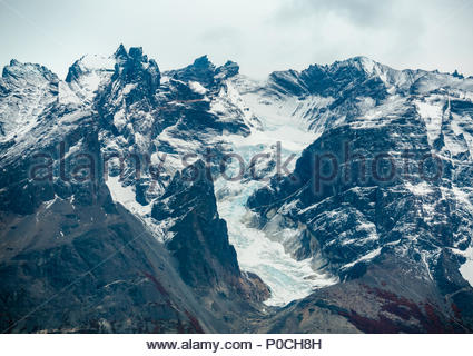 Zoomed view of glacier, Torres del Paine National Park, Patagonia, Chile, South America - Stock Photo