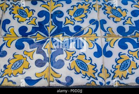 Portuguese azulejo tiles. Color pattern. Watercolor seamless pattern - Stock Photo