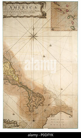 .  English: A new and exact map of the Island of St Christopher in America according to an actual and accurate survey made in the year 1753Two sheets. Hand col. engr. Medium: Segmented and backed. Scale: [1:34 000 (bar)]. Cartographic Note: Scale in British statute miles. Additional Places: Caribbean, Leeward Islands. Contents Note: Inset top right: graduated chart of the Leeward Islands, Contains a key to the map symbols and a table of the areas of the parishes, Scale cartouche decorated with instruments for surveying and navigation. Sea area decorated with ships. Gren79/3(2) A new and exact  - Stock Photo
