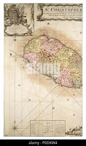 .  English: A new and exact map of the Island of St Christopher in America according to an actual and accurate survey made in the year 1753Two sheets. Hand col. engr. Medium: Segmented and backed. Scale: [1:34 000 (bar)]. Cartographic Note: Scale in British statute miles. Additional Places: Caribbean, Leeward Islands. Contents Note: Inset top right: graduated chart of the Leeward Islands, Contains a key to the map symbols and a table of the areas of the parishes, Scale cartouche decorated with instruments for surveying and navigation. Sea area decorated with ships. Gren79/3(1) A new and exact  - Stock Photo