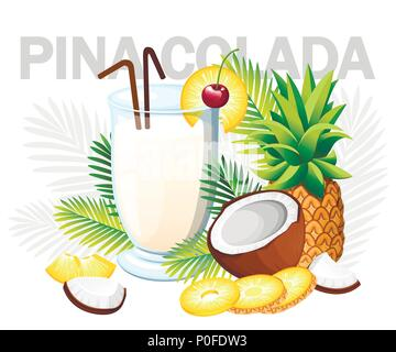 Pina Colada cocktail. Tropical cocktail with coconut and pineapple. Glass with drinks tube. Green palm leaves. Vector illustration on white background - Stock Photo