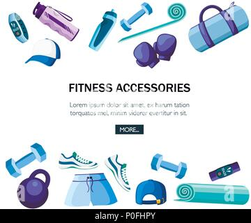 Set of sports accessories and clothes. Blue and purple color collection. Icons for classes in the gym. Vector illustration on white background. Place  - Stock Photo