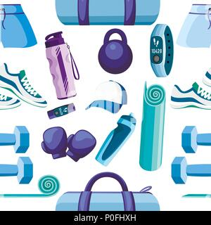 Seamless pattern. Set of sports accessories and clothes. Blue and purple color collection. Icons for classes in the gym. Vector illustration on white  - Stock Photo