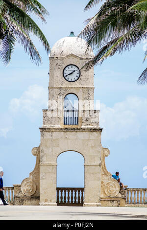 Florida Palm Beach Atlantic Ocean Worth Avenue Clock Tower beach side - Stock Photo