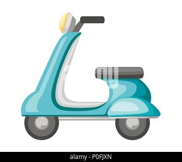 Turquoise retro scooter. Flat vector icon. Old transport illustration. Cartoon vector illustration isolated on white background. - Stock Photo