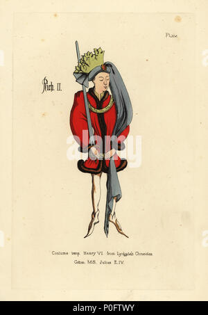 Costume of King Richard II, in short full tunic edged with fur, belted at the hips with a girdle, pointed shoes, roundlet headdress with long tail and crown of fabric cut in the form of leaves. From John Lydgate's Chronicle of the Kings of England, Cotton manuscript Julius EIV. Handcoloured copperplate engraving from Thomas Anthony Day and J.H. Dines' Illustrations of Mediaeval Costume in England collected from manuscripts in the British Museum, Bibliotheque Nationale de Paris, Bosworth, London, 1853. - Stock Photo