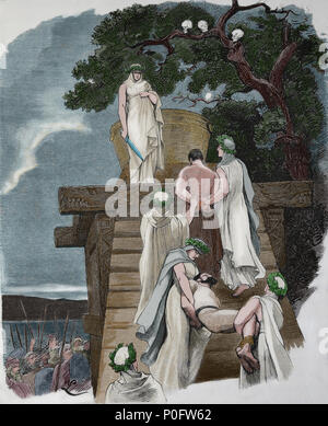 Human sacrifice in ancient Germany. Engraving, 1882 of 'Germania'. Color. - Stock Photo