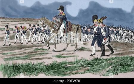 French troops in march. Russian Campaign. 1812. Napoleonic Wars. Engraving, 19th century. - Stock Photo