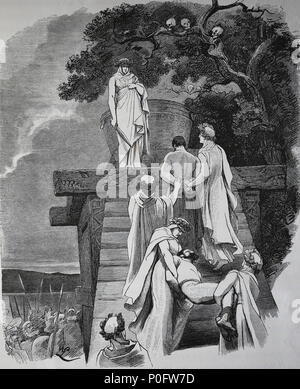 Human sacrifice in ancient Germany. Engraving, 1882 of 'Germania'. - Stock Photo