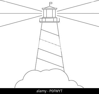 black and white vector lighthouse, isolated on white - Stock Photo