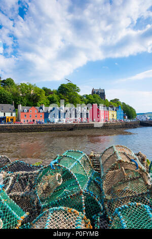 Colourful houses and lobster pots on quayside, Tobermory, Isle of Bute, Inner Hebrides, Argyll and Bute, Scotland, United Kingdom - Stock Photo