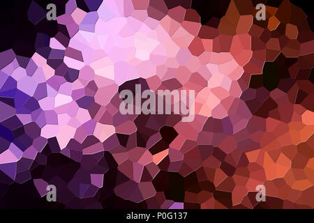 Colorful abstract geometrical composition, geometric pattern from  orange and pink various polygons and triangles  on black paper background. - Stock Photo