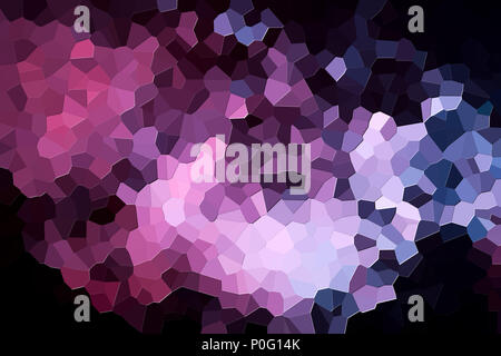 Colorful abstract geometrical composition, geometric pattern from purple and pink various polygons and triangles  on black paper background. - Stock Photo