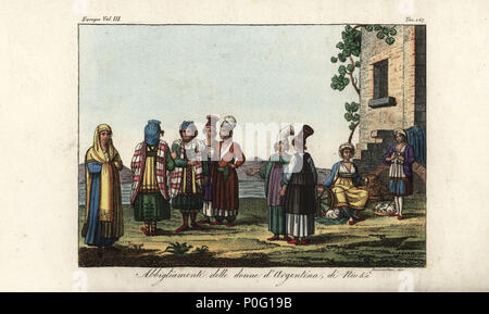 Greek and Italian female costume, 18th century. Woman in walking dress, women in the strange dress of Argentiera, Sassari, and women from the Greek islands of Paros, Chios and Ios. Handcoloured copperplate engraving by Sasso from Giulio Ferrario's Costumes Ancient and Modern of the Peoples of the World, Florence, 1847. - Stock Photo