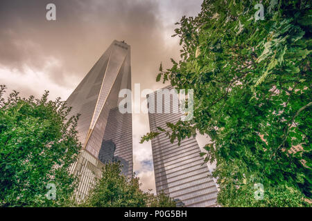 Looking up to the One World Trade Centre in Lower Manhattan, New York, USA - Stock Photo