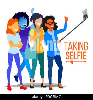 Girls Taking Selfie Vector. Photo Portrait Concept. Self Camera. Modern Flat Isolated People Illustration - Stock Photo