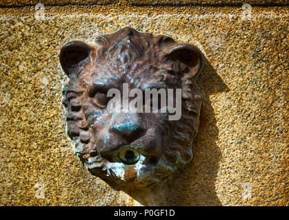 Limoges, France - September 28, 2017: Medallions of lions fountain in the city. Relief medallion Leo - Stock Photo