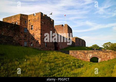 moat bridge moat de irebys tower and keep Carlisle castle Carlisle Cumbria England UK - Stock Photo