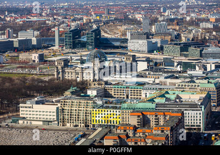 View over Berlin Tiergarten, to the northwest, government district, Reichstag, main train station, Germany - Stock Photo