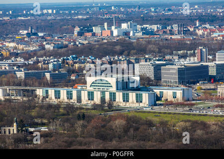 View over Berlin-Tiergarten, to the northwest, government district, Federal Chancellery, Germany - Stock Photo