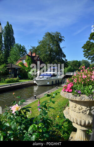 Summer plants flowering at the Sonning Lock with motorboat going through.  Sonning-on-Thames, Berkshire, UK, Great Britain - Stock Photo