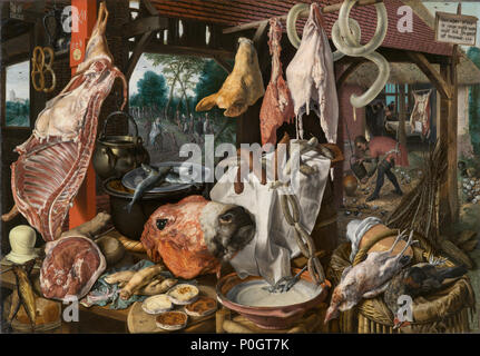 .  English: Holy Family distributing alms on their journey to Egypt to escape from Herod's harassment. Various foods – plates in the foreground, meats, ham, lard, smoked fish, pigs' legs and head, bread, butter, milk, cheese and hanging pretzels (in the left corner) – that has been spread out in front of the viewer. The various meats, including sausages, beef, fish, fowl and pork, are arranged on wooden tables, using baskets, pots and plates. A barrel and some wickerwork chairs serve as containers for the food items  . A Meat Stall with the Holy Family Giving Alms . 1551 270 A Meat Stall with  - Stock Photo