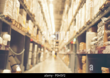Abstract blurry background of warehouse storing with a lot of large box stack - Stock Photo