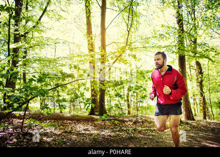 Fit young man in a jacket and shorts listening to music on earphones during a lone cross country run through a forest - Stock Photo