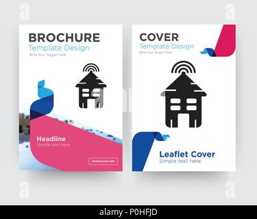 Smart house brochure flyer design template with abstract photo background, minimalist trend business corporate roll up or annual report - Stock Photo