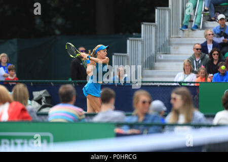 Nottingham Tennis Centre, Nottingham, UK. 9th June, 2018. Katie Swan of Great Britain plays a forehand shot at Abigail Tere-Apisah of Papua New Guinea Credit: Action Plus Sports/Alamy Live News