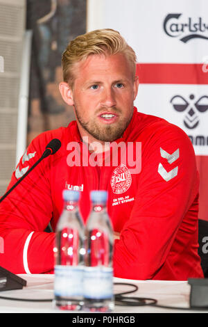 Brondby, Denmark - June 8, 2018. Danish goalkeeper Kasper Schmeichel attends a press conference of the Danish national football team at Brøndby Stadium before the test match against Mexico. (Photo credit: Gonzales Photo - Thomas Rasmussen). - Stock Photo