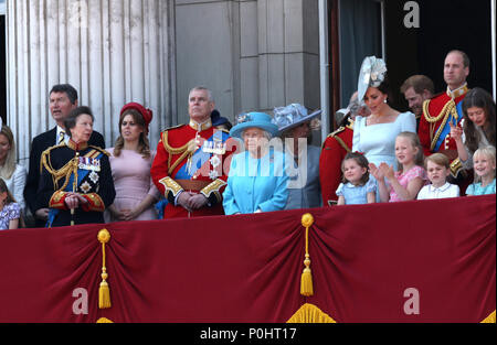 The British Royal family at the Trooping of the Colour 2018. Trooping the Colour marks the Queens official birthday. Trooping the Colour, London, June 09, 2018 - Stock Photo