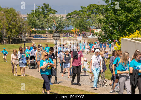 Dun Laoghaire, Ireland. 6th June, 2018. Young environmental activist Flossie Donnelly Plastic Free Irish Sea March for the Ocean Dun Laoghaire, Dublin, Ireland. Credit: Fabrice Jolivet/Alamy News - Stock Photo