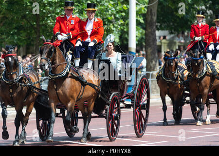 London, UK. 9th June 2018. Trooping The Colour. Catherine Duchess of Cambridge Credit: Raymond Tang/Alamy Live News - Stock Photo