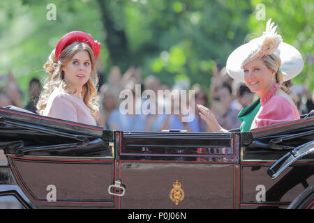 London, UK. 9th June 2018. Princess Beatrice of York, and Sophie, Countess of Wessex ride in a horse drawn carriage in the procession along The Mall at Trooping the Colour, The Queens Birthday Parade. London. Credit: amanda rose/Alamy Live News - Stock Photo
