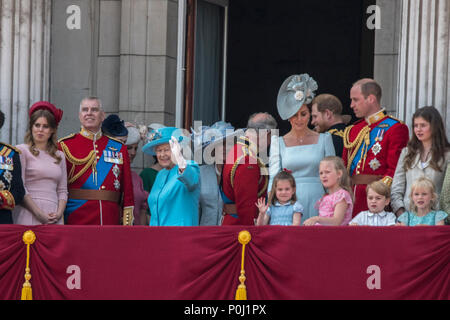 London, UK. 9 June 2018 - Members of the British Royal family, including HM The Queen, Prince William, Prince Harry, Meghan Markle (Duchess of Sussex) and more. Prince Philip was absent throughout. Credit: Benjamin Wareing/Alamy Live News - Stock Photo