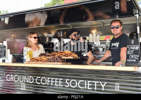 London, UK. 9th June 2018. The coffe shop during Chestertons Polo In The Park: Ladies Day at Hurlingham Park on Saturday, 09 June 2018. ENGLAND, LONDON. Credit: Taka G Wu Credit: Taka Wu/Alamy Live News - Stock Photo