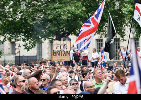 London, UK. 09th June 2018: Thousands attend a march and protest outside 10 Downing street calling for the release of journalist Tommy Robinson. Credit: Ian Francis/Alamy Live News - Stock Photo