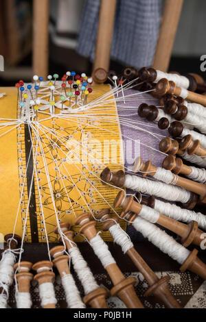 Lace making bobbins Le Puy en Velay Haute-Loire Auvergne-Rhône-Alpes France - Stock Photo