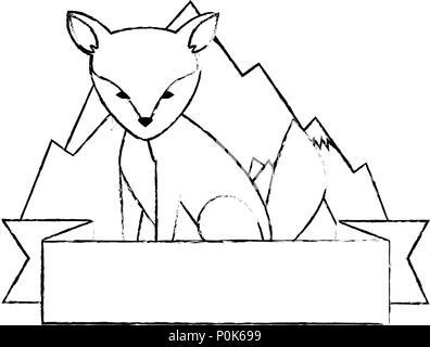 Canadian Fox Scene Icon Stock Vector Art Illustration Vector