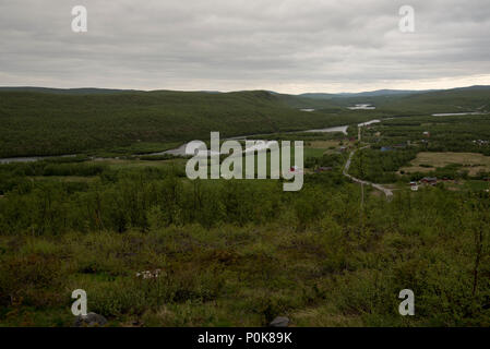 Like in Masi village Downy Birches are covering parts of Norways northenmost province Finnmark. - Stock Photo
