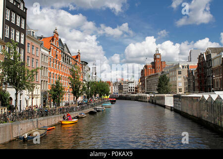 Wide angle photo from Flower Market (Bloemenmarkt), the world's only floating flower market founded in 1862, Amsterdam, Netherlands. - Stock Photo