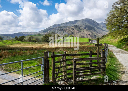 Wetherlam and signpost  from near Elterwater, Lake District, Cumbria, England - Stock Photo