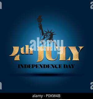 Happy Independence Day July 4 -  lettering design illustration in vector eps 10. Good for advertising, poster, announcement, invitation, greeting card. - Stock Photo