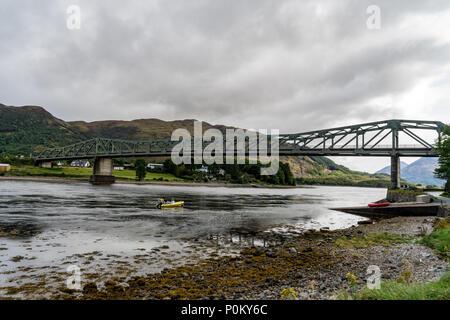 Ballachulish bridge in Lochaber, Scottish Highland on a cloudy and rainy day - Stock Photo