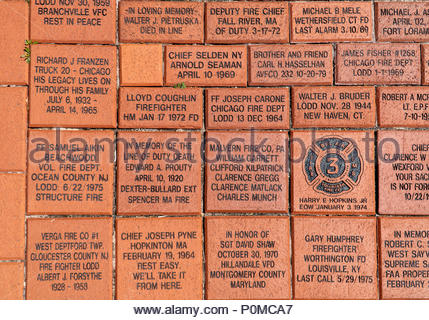 Memorial bricks at 'To Lift a Nation,' the 9/11 National Memorial, at the National Fire Academy, formerly Saint Joseph College, in Emmitsburg, Marylan - Stock Photo