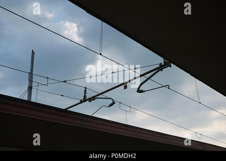 Treviso, Italy - May 29, 2018: Train cables - Stock Photo