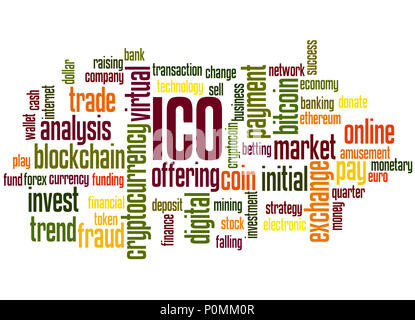 ICO (Initial coin offering) word cloud concept on white background. - Stock Photo